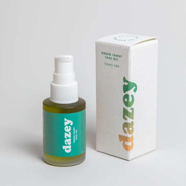 dazey green tansy face oil with compostable packaging