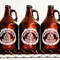 Empty growlers wait to be filled with beer at Drumconrath Brewing Co. in Mapleton,ND. Dave Wallis / The Forum