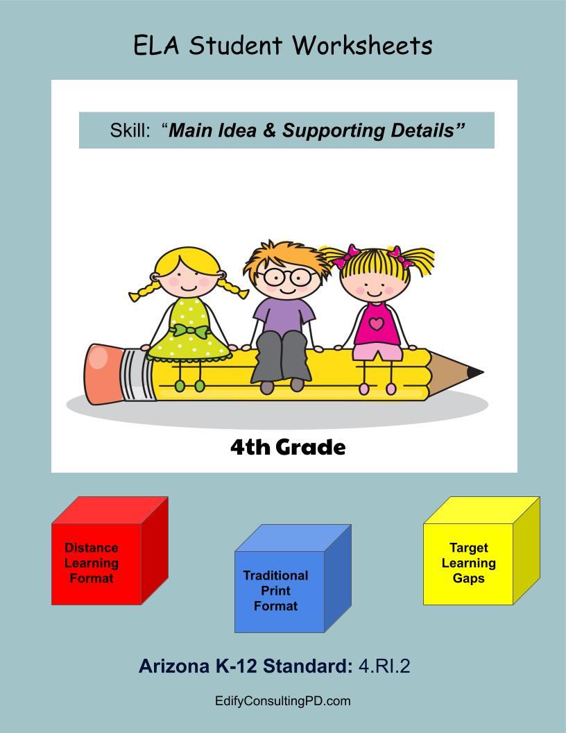 medium resolution of Arizona Worksheets 4.RI.2 – Main Idea and Supporting Details –  ShopDollar.com: Online Shopping for Teachers Saving on Classroom Supplies
