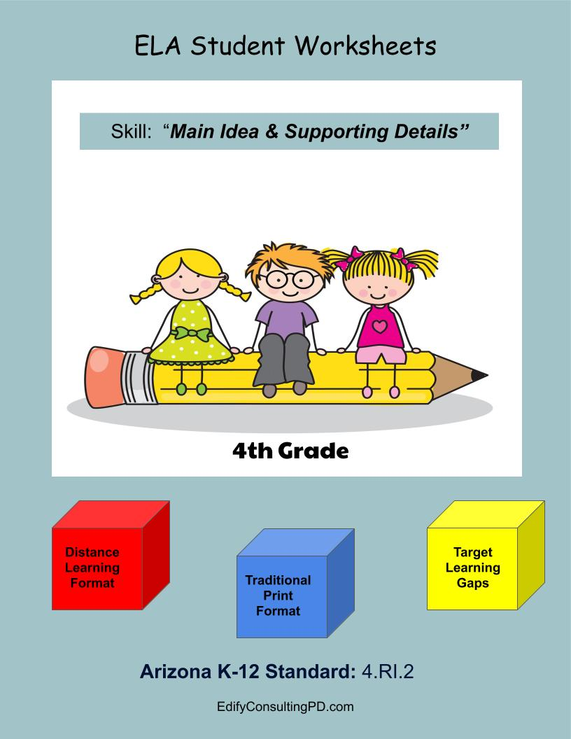 hight resolution of Arizona Worksheets 4.RI.2 – Main Idea and Supporting Details –  ShopDollar.com: Online Shopping for Teachers Saving on Classroom Supplies