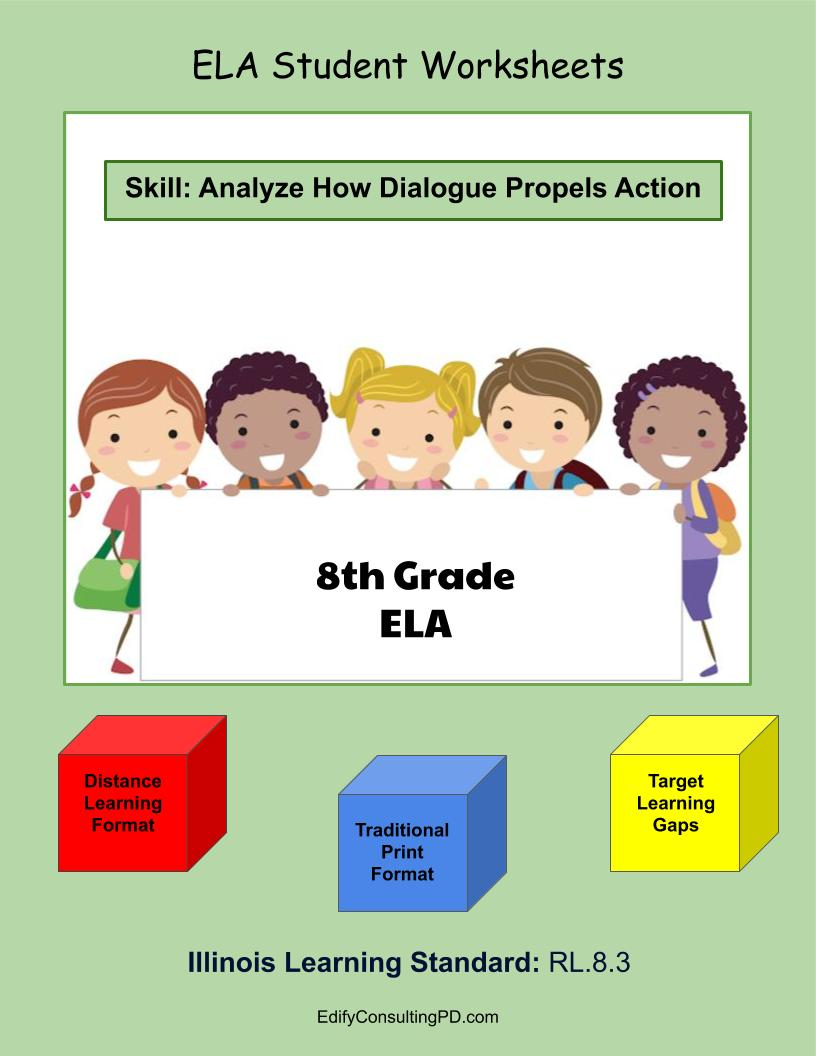 medium resolution of Illinois Worksheets RL.8.3 – Analyze How Dialogue Propels Action –  ShopDollar.com: Online Shopping for Teachers Saving on Classroom Supplies