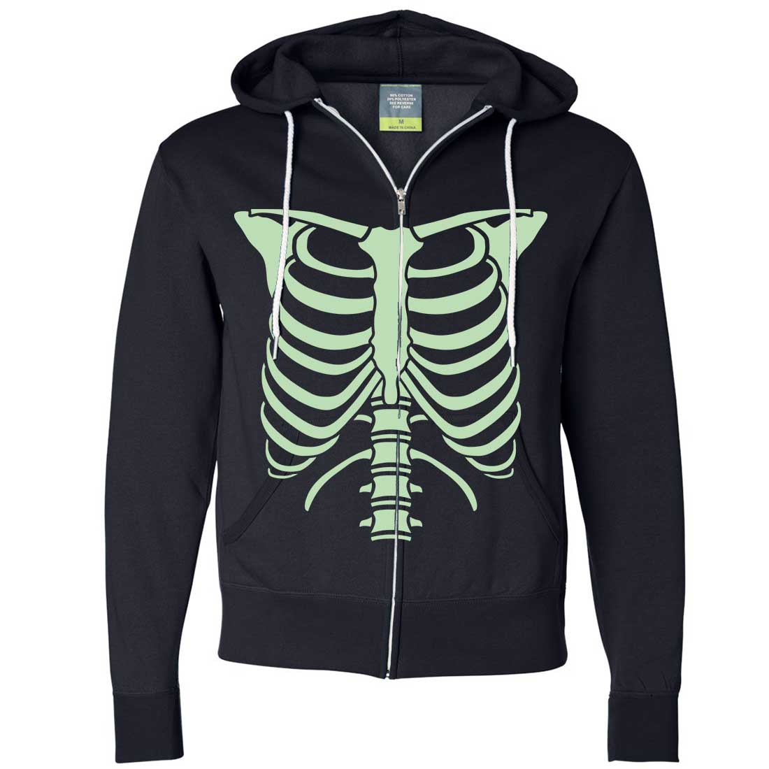 Glow in the Dark Skeleton Hoodie Zip Up
