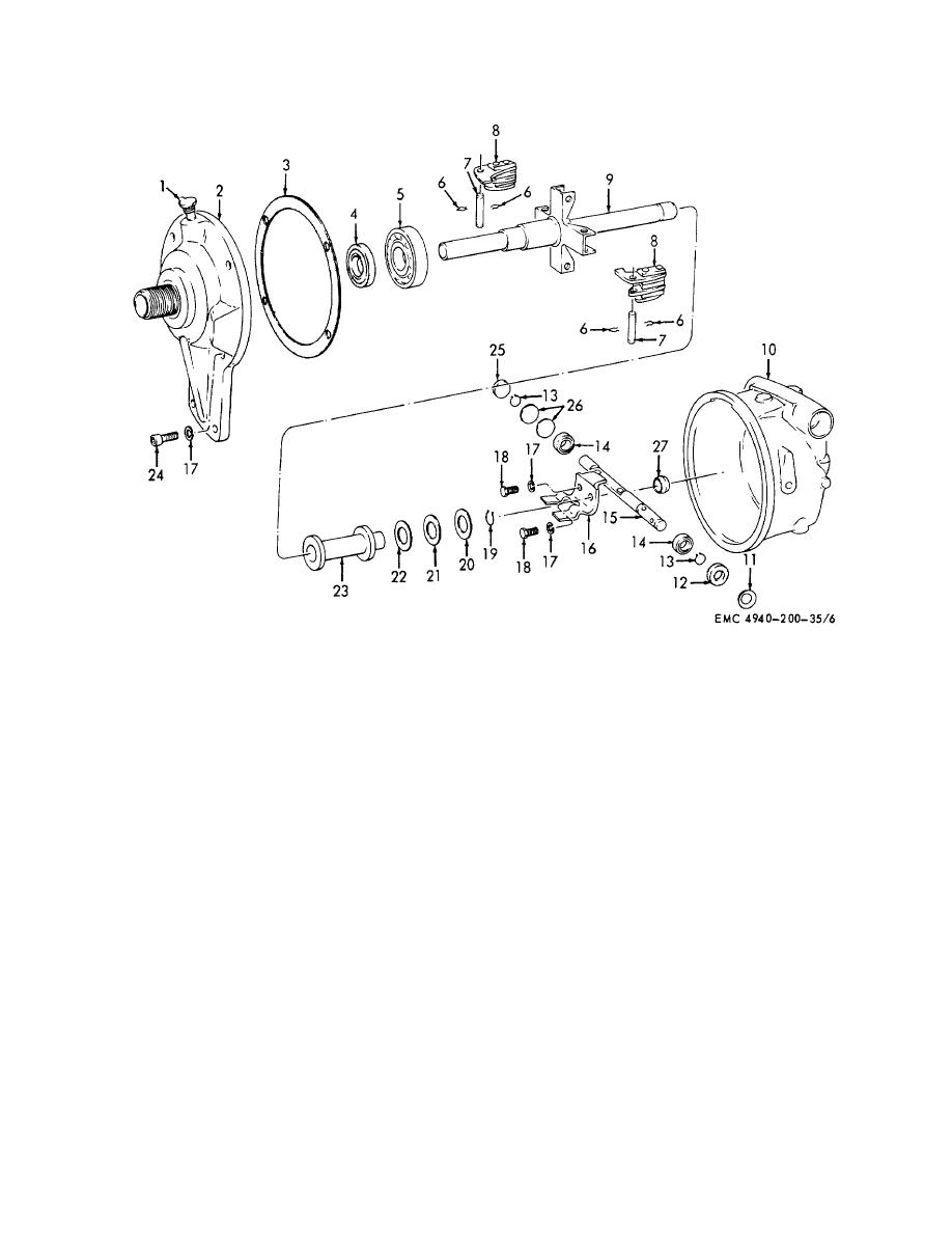 Figure 7. Engine speed governor, disassembly and reassembly.