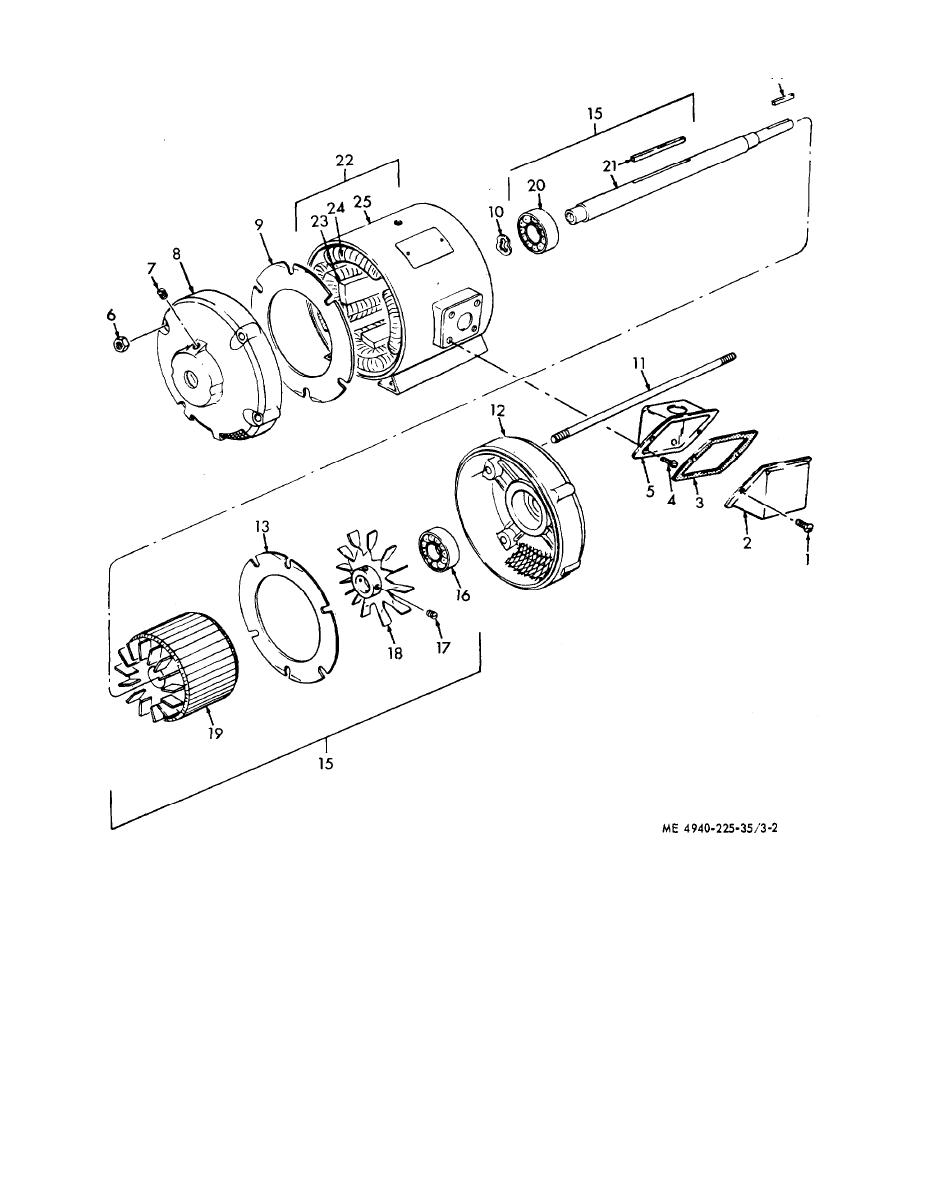 Figure 3-2. .4ir compressor drive rnotor, disassembly and