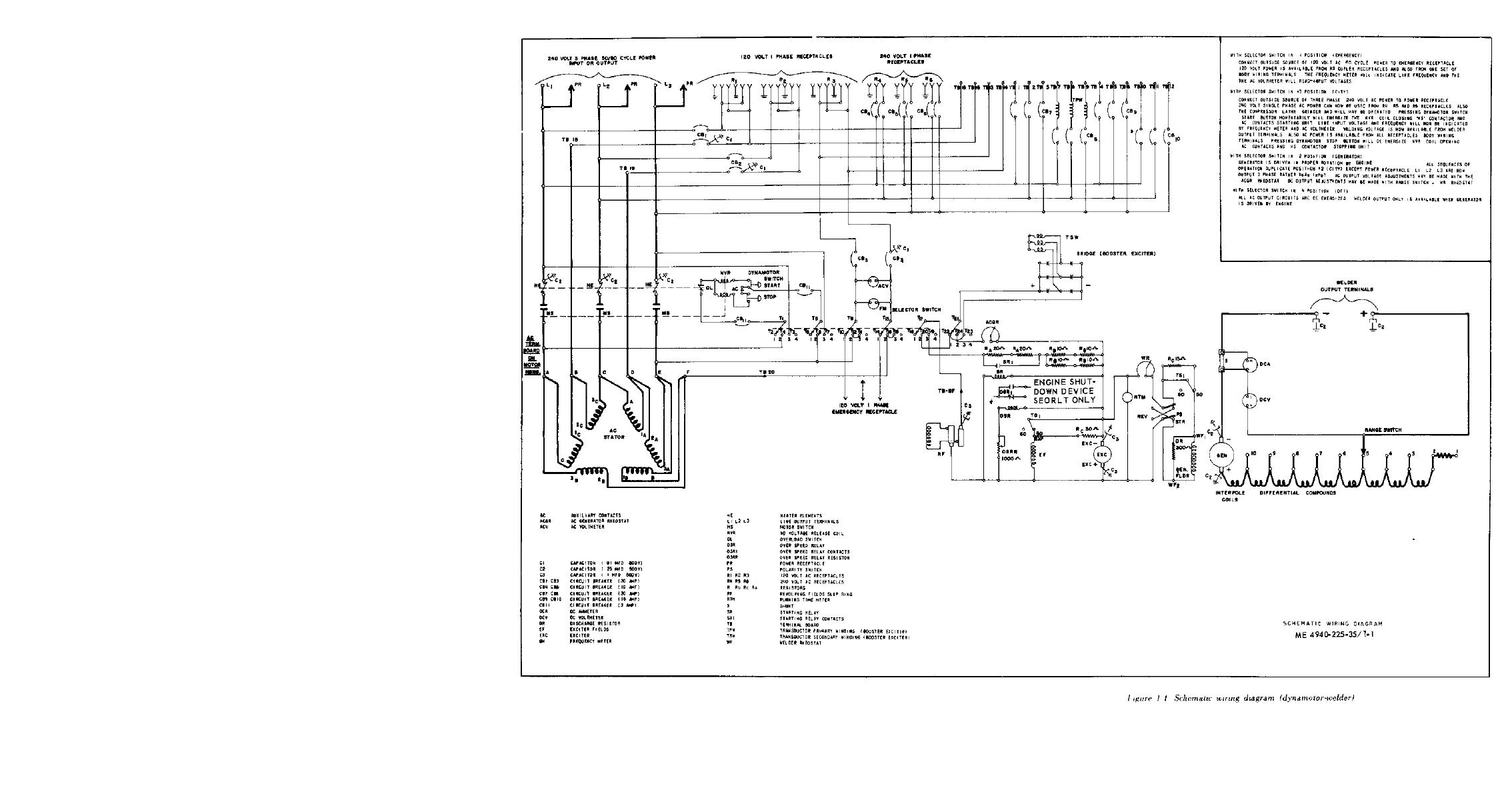 Figure 1-1. Schematic Wiring Diagram (dynamotor welder)
