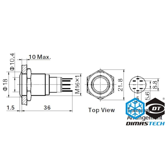 Push-Button DimasTech® Black, 16mm ID, Momentary Action