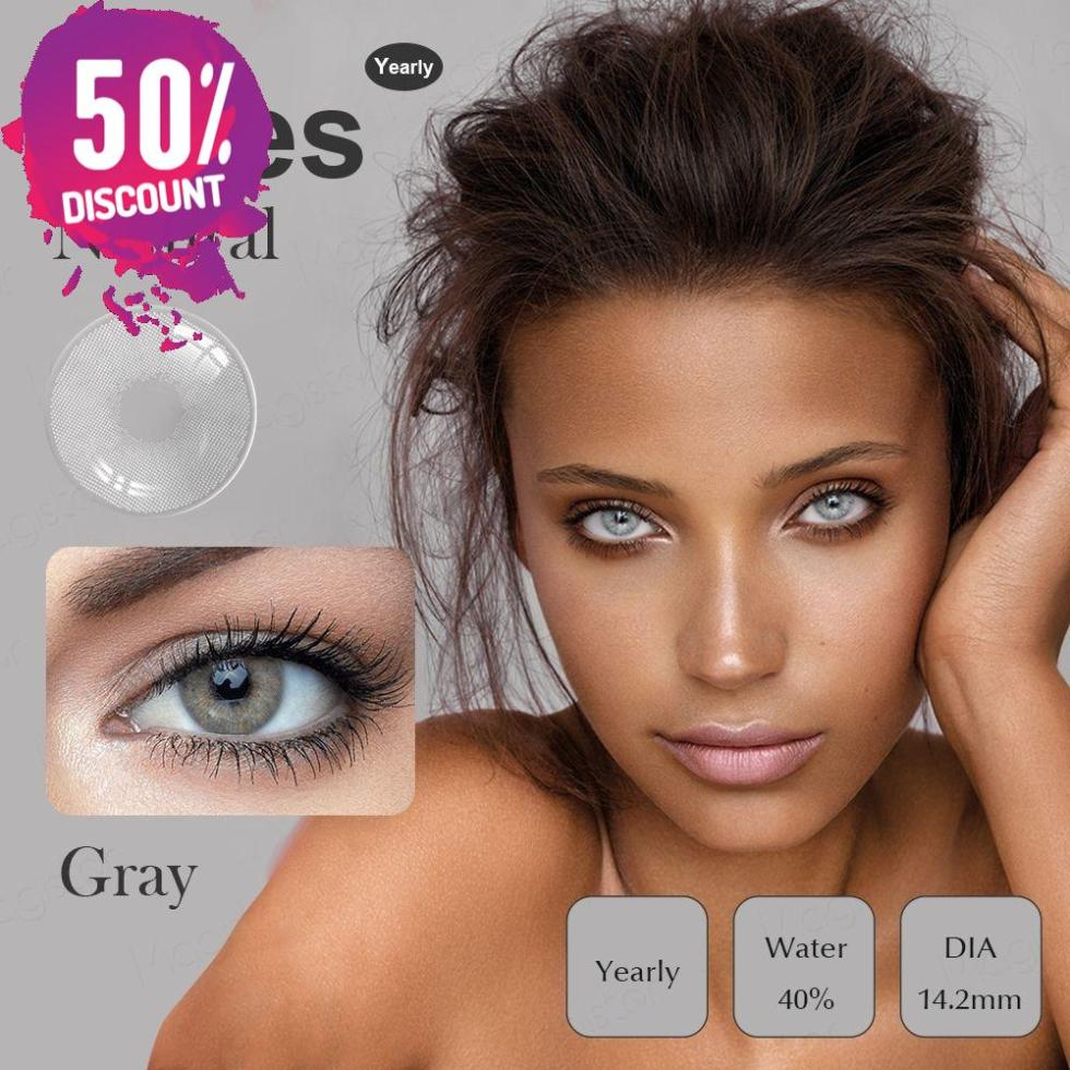 Catniss Grey Eye Contact Lenses For Crystal Natural Gray Colored Eyes