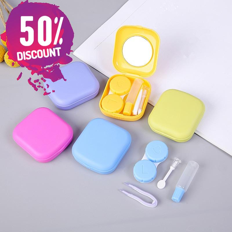 Mini Square Contact Lenses Case with Mirror Colored Contact Lenses Travel Kit Box