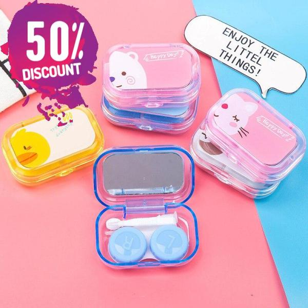 Cartoon Candy Color Eye Contact Lenses Case Travel Kit Box with Mirror Accessories FREE SHIPPING 4