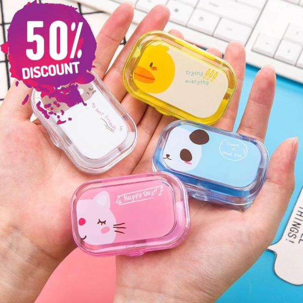Cartoon Candy Color Eye Contact Lenses Case Travel Kit Box with Mirror Accessories FREE SHIPPING 3