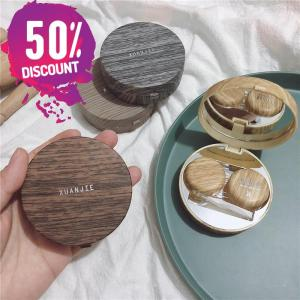 Beautiful Wooden Eye Contact lenses Case Container with Mirror Accessories FREE SHIPPING