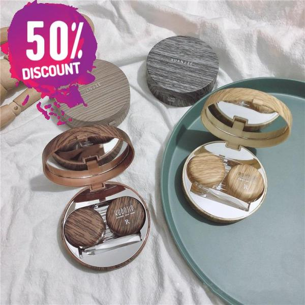 Beautiful Wooden Eye Contact lenses Case Container with Mirror Accessories FREE SHIPPING 7
