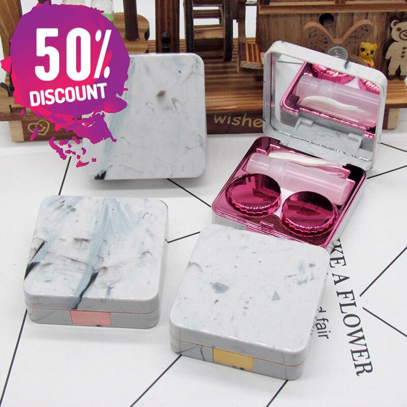 Marble Surface Square Eye Contact Lenses Case with Mirror Fancy Contact Lenses Container Box