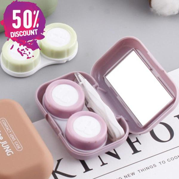 Frosted Rubber Paint Eye Contact Lenses Case With Mirror Colored Mini Square Contact Lenses Tool Kit Accessories FREE SHIPPING 5