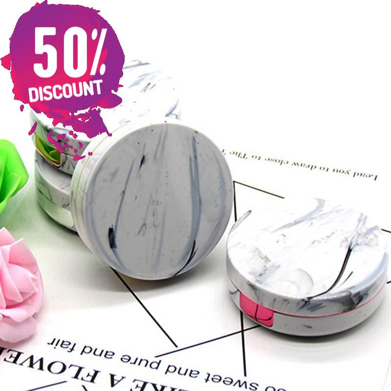 Round Marble Stripe Eye Contact Lenses Case Eye Contact Lens Container Travel Box Kit
