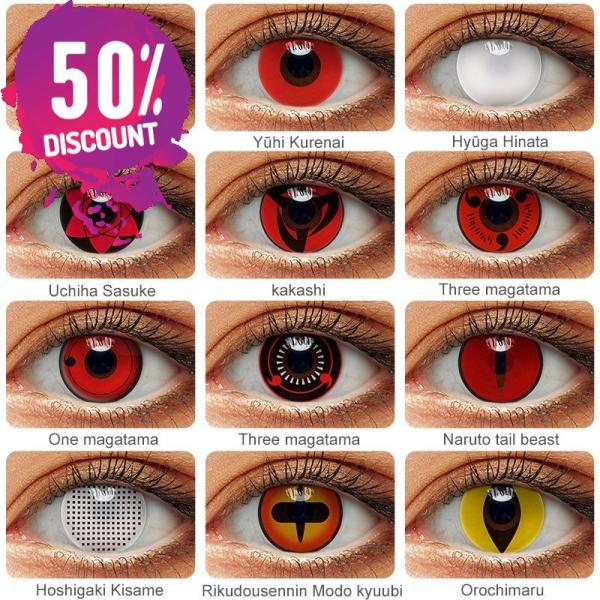 NARUTO Sharingan Contact Lenses Cosplay Colored Contacts for Anime Eyes Accessories FREE SHIPPING 3