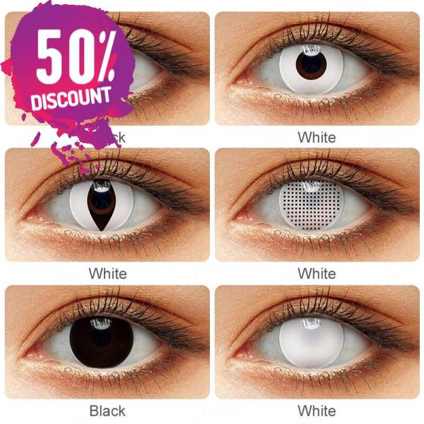 Blackout Eye Contacts For Cosplay Halloween White and Black Colored Cat Eyes Eye Contact Lenses FREE SHIPPING 4