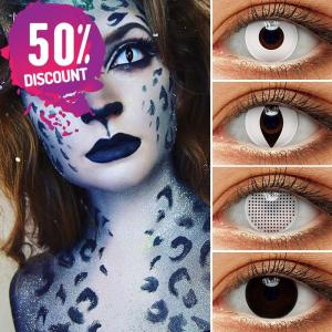 Blackout Eye Contacts For Cosplay Halloween White and Black Colored Cat Eyes Eye Contact Lenses FREE SHIPPING