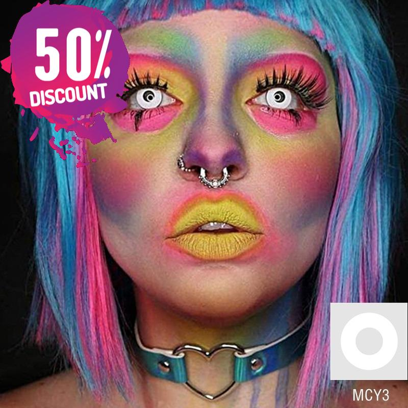 Cosplay Blackout & Whiteout Halloween Eye Contact Lenses-1 Year Use-Premium Quality