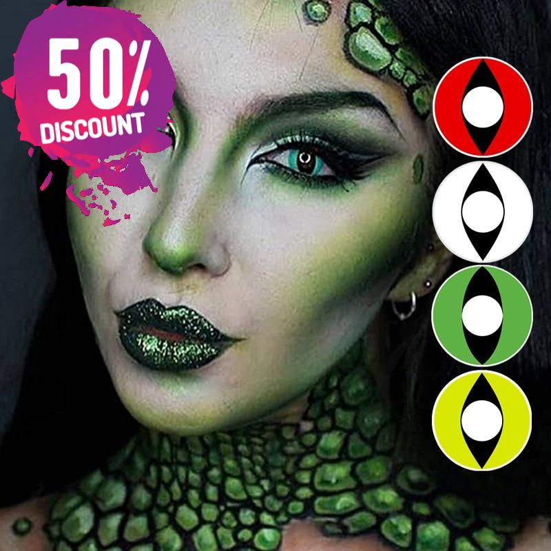 Red Green White Yellow Cat Eyes Cosplay Halloween Eye Contact Lenses-1 Year Use