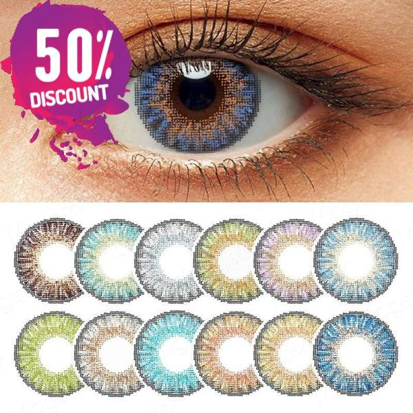 3 Tones Star Blue Green Brown Grey Colored Eye Contact Lenses for A Natural Sexy Look Eye Contact Lenses FREE SHIPPING 3
