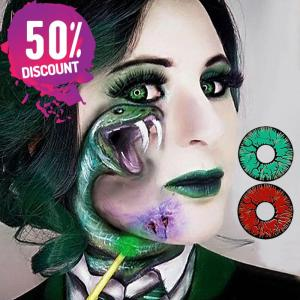 Crazy Cosplay Red Green Snake Eye Halloween Eye Contact Lenses-1 Year Use-Premium Quality Eye Contact Lenses FREE SHIPPING