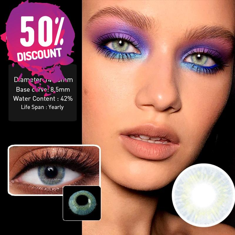 Prescription Grey Colored Contacts For Myopia Natural Gray Eye Contact Lenses-1 Year Use