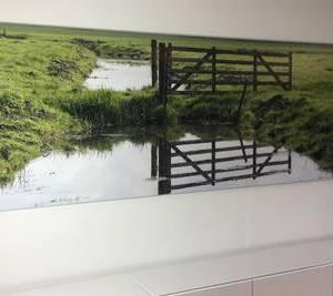 Foto verlijmd achter acrylaat 30x100 cm