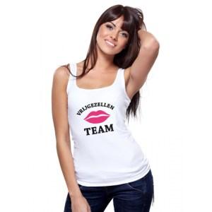 Vrijgezellenfeest Team tanktop shirt wit dames - vrijgezellen shirt