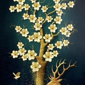 Happy Painter® XL 50x80cm -Diamond Painting volwassenen - Hert en kleurrijke boom