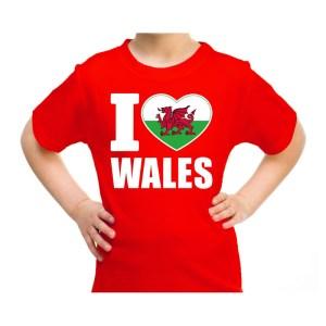 I love Wales / Verenigd Koninkrijk landen shirt rood voor kids XS (110-116) -