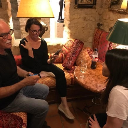 Lance and Margo confer with Folie's Social Media Editor Catherine Evans during a break in shopping the antiques markets in Paris.