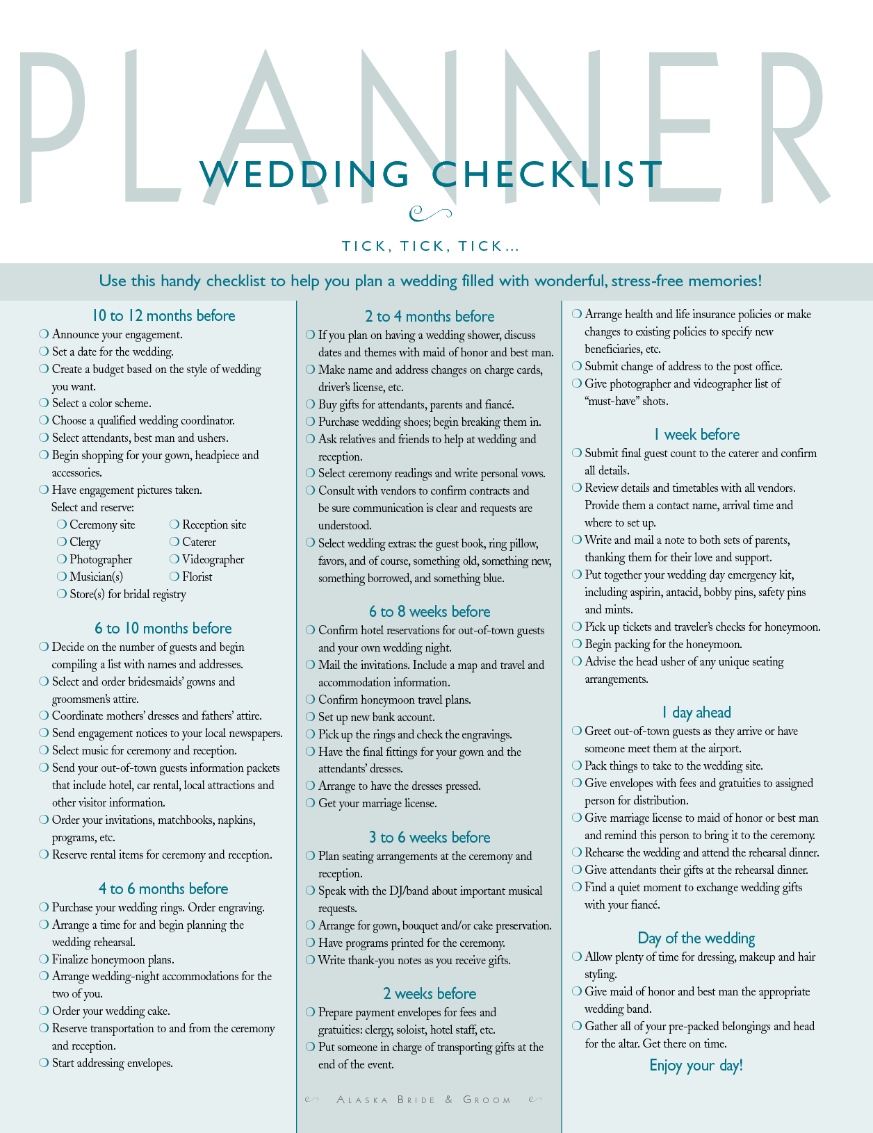 Best Wedding Checklist Printable