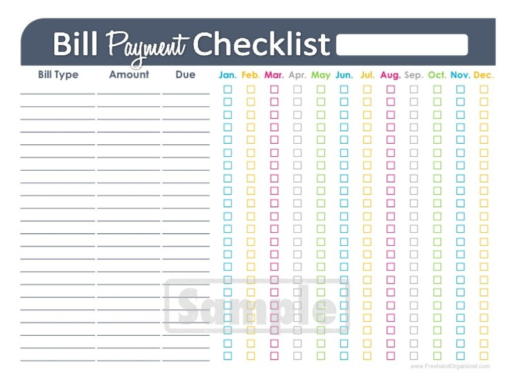 Bill Paying Spreadsheet Printable