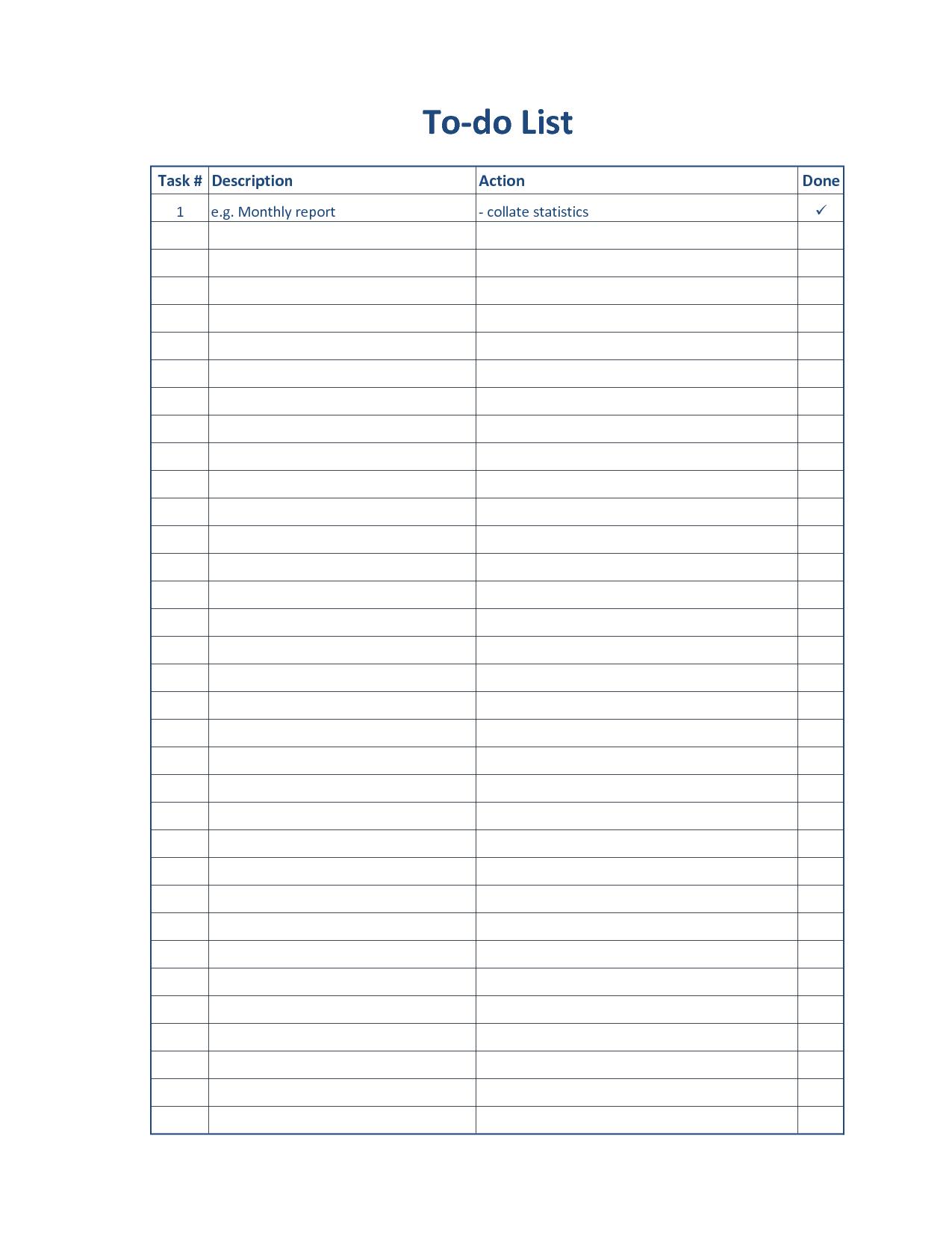 Free Printable To Do List Sheets