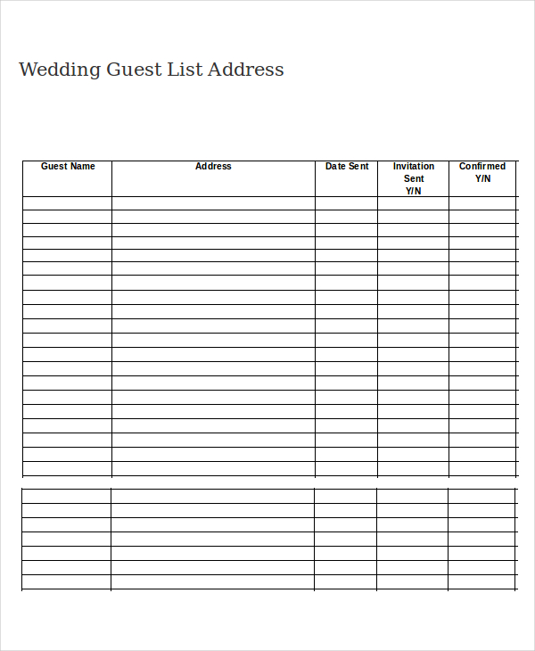 Free Wedding Guest List Printable  shop fresh