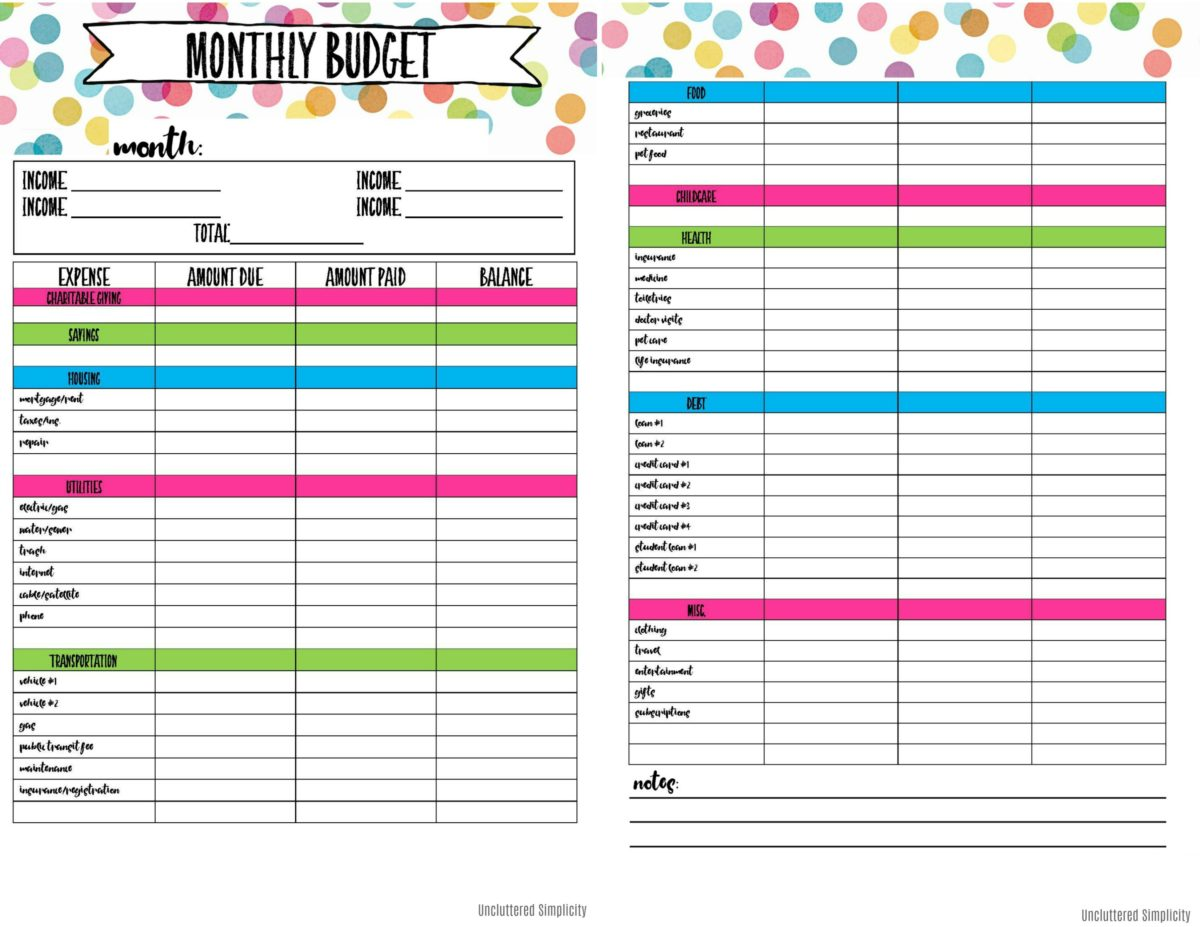 Printable Budget Planner Free