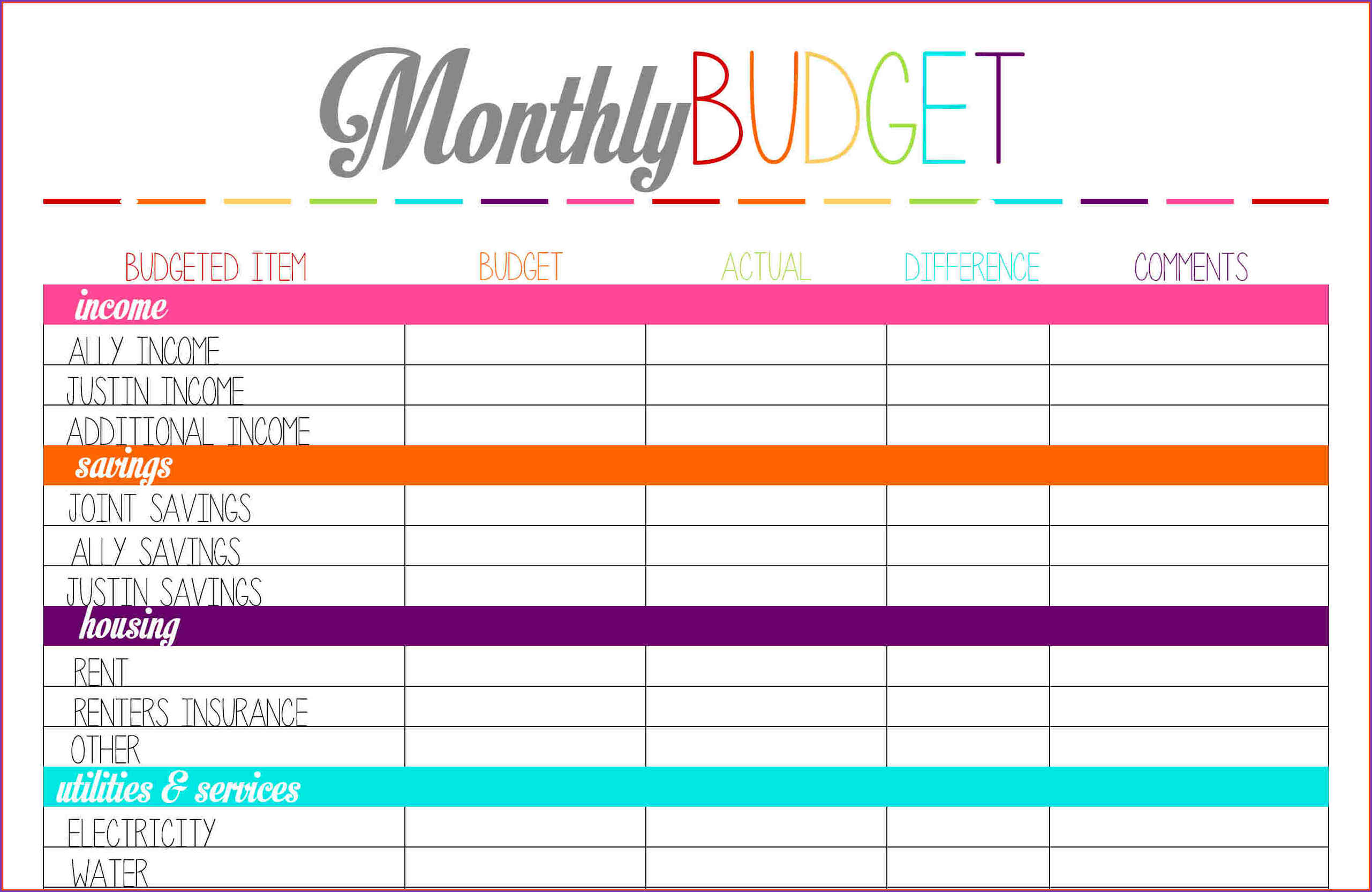Printable Monthly Budget Worksheet Excel