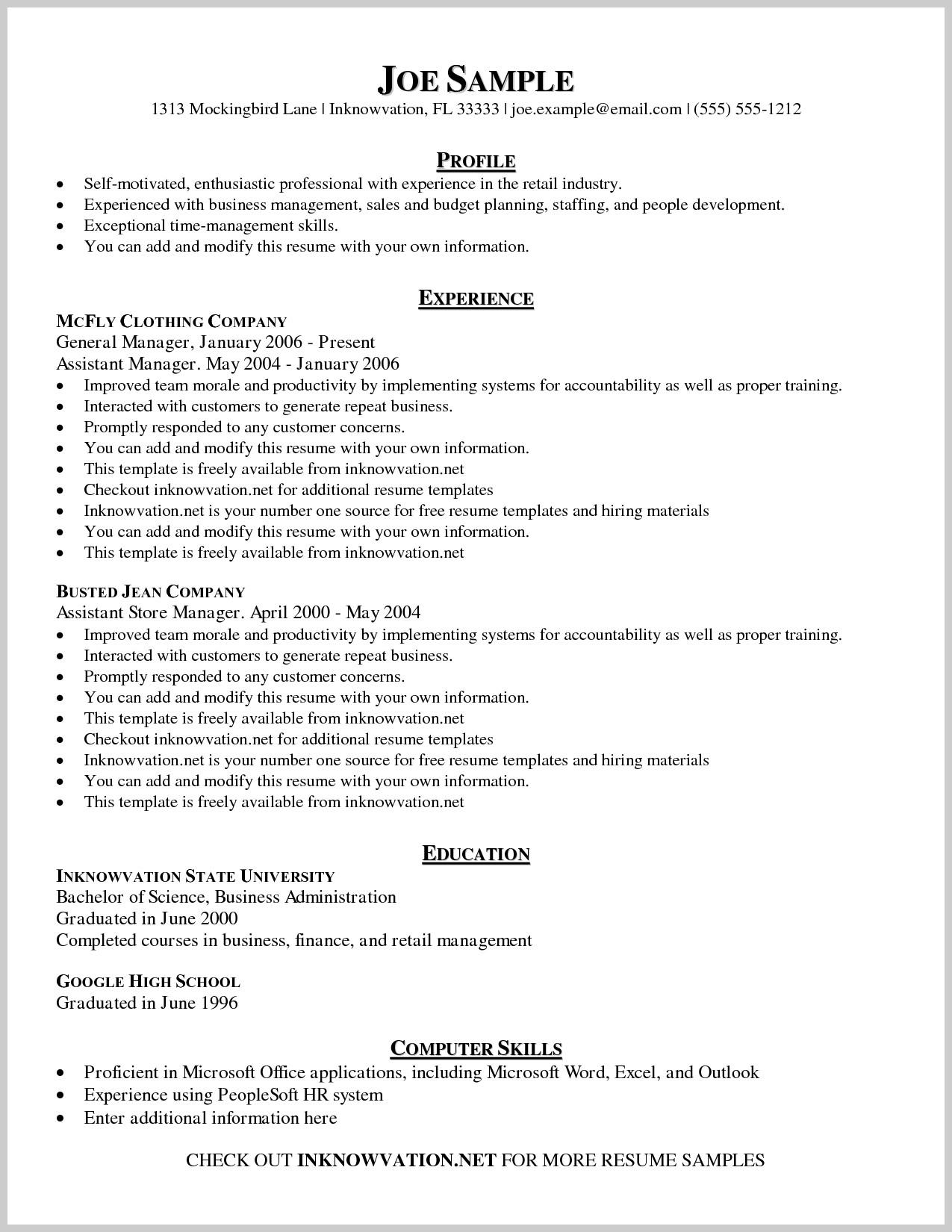 Printable Samples Of Resumes