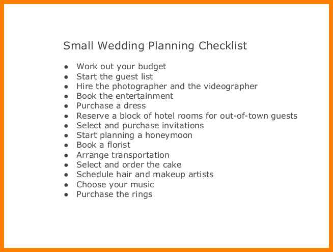 Small Wedding Checklist Printable