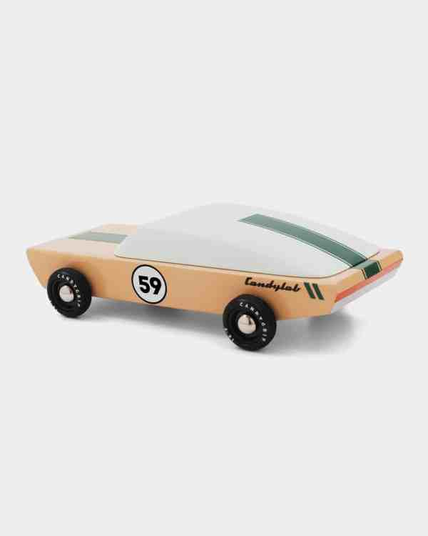 Tan and green wooden toy car