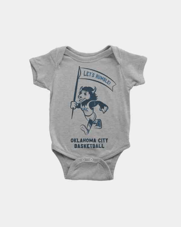 A kid's grey, onesie with the OKC Thunder Basketball mascot, Rumble on the front