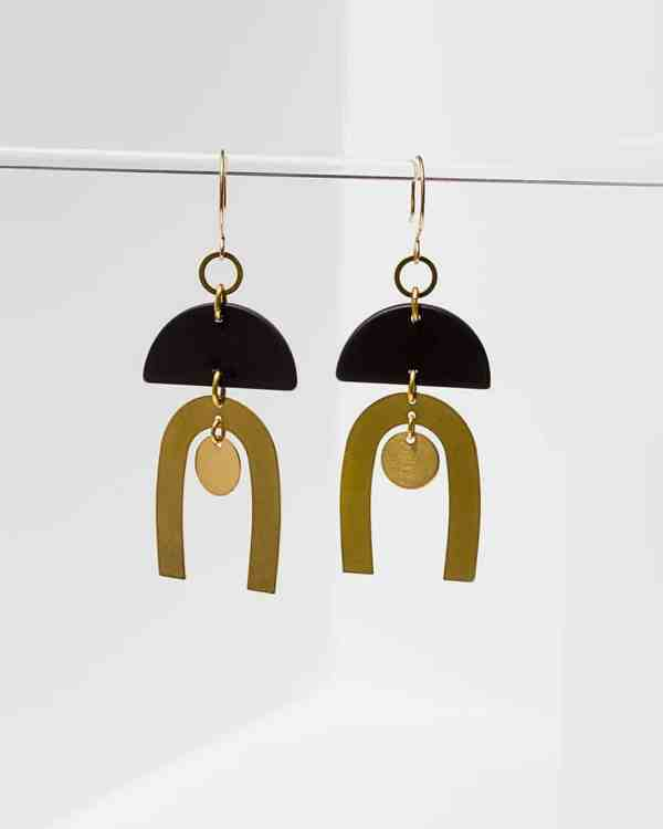 Brass earrings with onyx stones on them