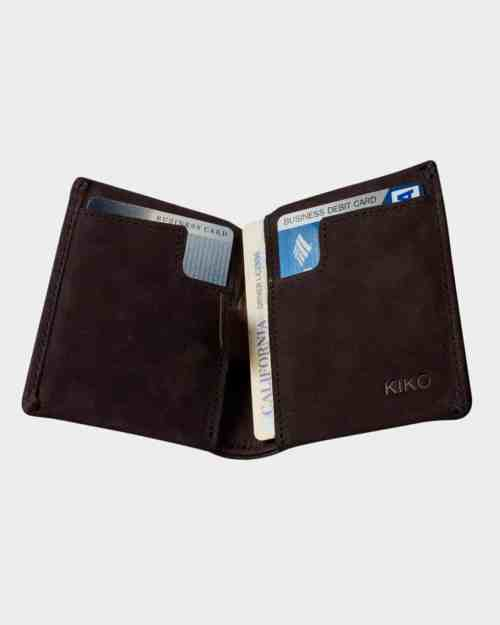 A photo of a brown, bifold leather wallet