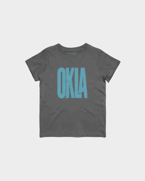 A grey kid's shirt with OKLA printed on the front in Blue