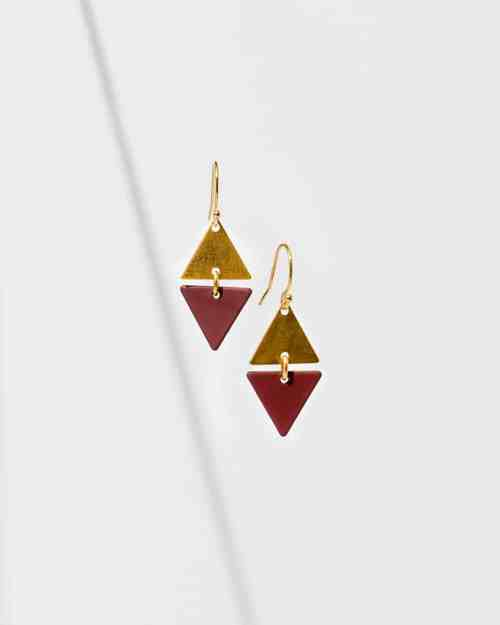Brass and marroon diamond shaped earrings