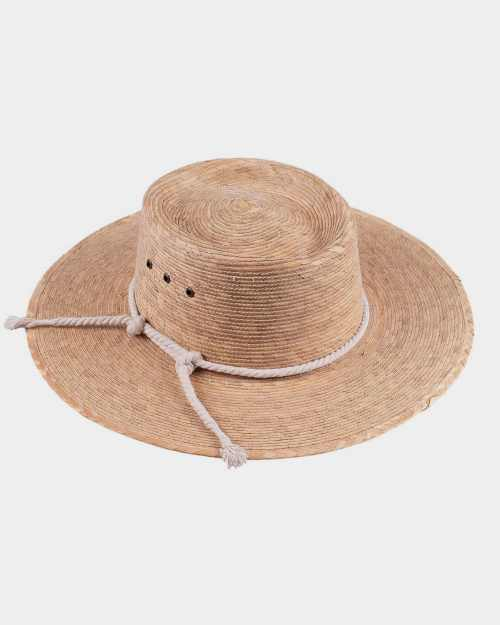 A wide-brimmed, straw hat.
