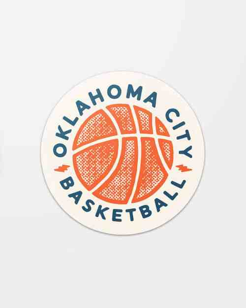 A round vinyl sticker that says Oklahoma City Basketball.