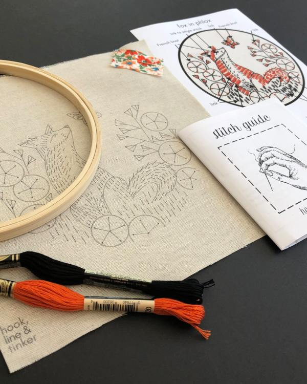 A photo of the Fox in Phlox Embroidery Kit