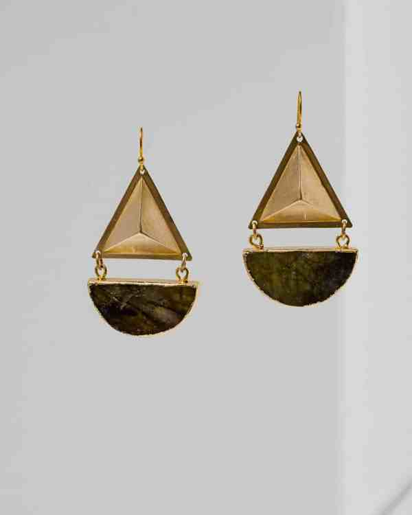 Brass earrings with labrodite stones hanging from them